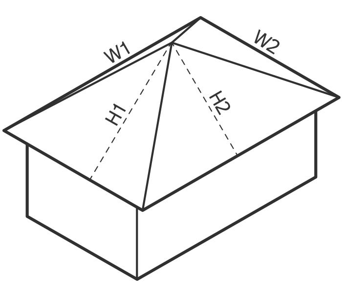 расчет площади вальмовой крыши калькулятор